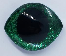 Grote Groene Sparkle Glitter Veiligheids Ogen 28x23mm