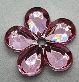 Roze Bloemen Pailletten 16mm