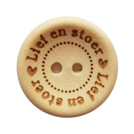 Blank Houten Knoop Lief en Stoer 20mm (4 stuks)
