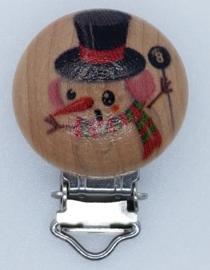 Houten Speenclip Kerst Motief Sneeuwpop III
