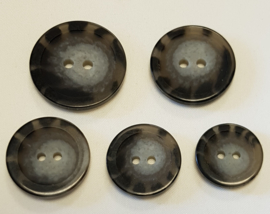 Grijs Zwarte Knoop 18, 20, 22 & 25 mm