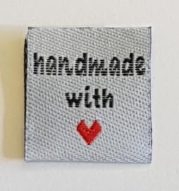 Witte Stoffen Handmade with  ♥ Labels 2cm (10 stuks)