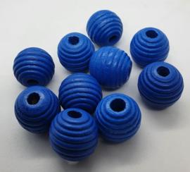 Ribbel Kralen Donker Blauw 20mm (10 Stuks)