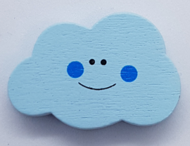 Wolken Kraal Licht Blauw met Gezichtje 30x20mm