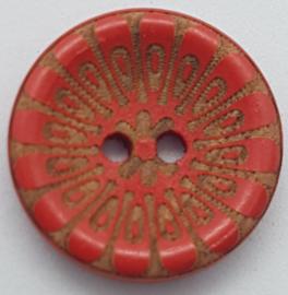Gebloemde Knoop Rood 20mm