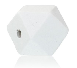 Houten Witte Hexagon Kraal 20 mm (per stuk)