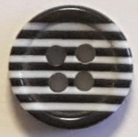 Zwart Wit Gestreepte Knoop 11mm