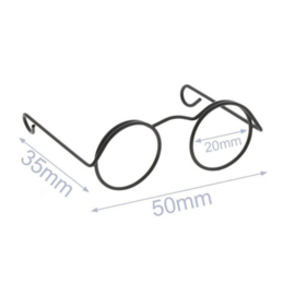 Bril voor Knuffels Zwart 5cm