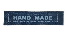 Blauwe Stoffen Handmade Labels 4,5 cm (5 Stuks)