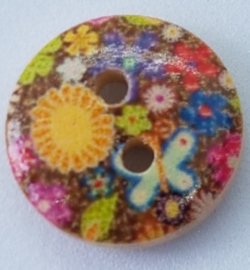 Ronde Houten Knopen Bont Gekleurde Bloemen 15 mm
