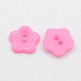Roze Bloemetjes Knopen 12mm