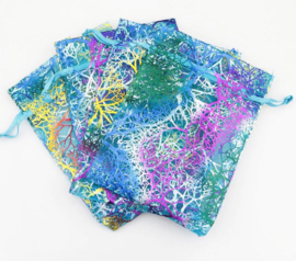 9x12 cm Organza Zakjes met Bomen Blauw