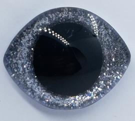 Grote Zilveren Sparkle Glitter Veiligheids Ogen 28x23mm