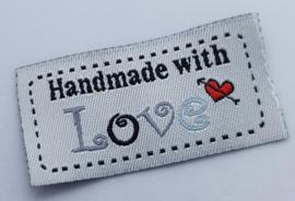 Witte Stoffen Handmade with Love 5x2,5cm (5 stuks)