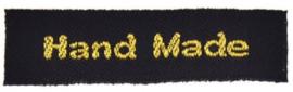 Zwarte & Gouden Stoffen Handmade Labels 4,5x1,0 cm (5 Stuks)