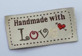 Beige Stoffen Handmade with Love 5x2,5cm (5 stuks)