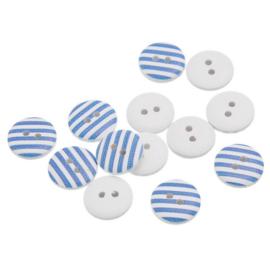 Witte Knopen met Blauwe strepen 15mm