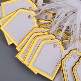100 Witte Prijskaartjes met Gouden rand 22x17 mm