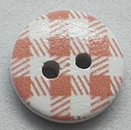 Roze Witte Houten Knoopjes 12mm (5 stuks)
