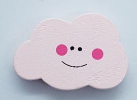Wolken Kraal Licht Roze met Gezichtje 30x20mm