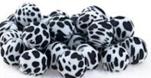 Zwart Witte Gevlekte Luipaard Silicone Kraal 15mm