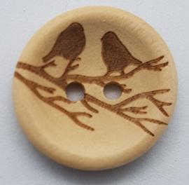 Blank Houten Knoop Vogels op Tak 20mm