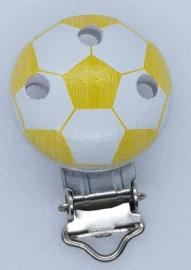 Houten Speenclip Voetbal Geel