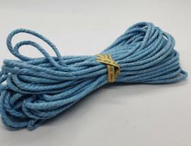 Wax koord 3mm Licht Blauw