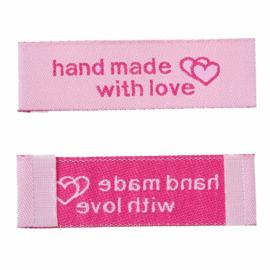 Roze Stoffen Handmade with Love Labels 5x1,5 cm (5 Stuks)