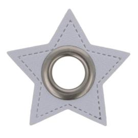 Nestel op grijs Skai-Leer 11mm oud nikkel ster