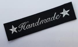Zwarte & Zilver Stoffen Handmade Labels 6x1,5 cm (5 Stuks)
