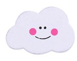Wolken Kraal Wit  Met Roze Gezichtje 17x22mm