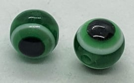 Boze oog kralen 8mm Donker Groen