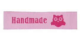 Roze Stoffen Handmade Hand made & Uil Labels (5 Stuks)