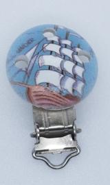 Houten Speenclip met Zeilboot