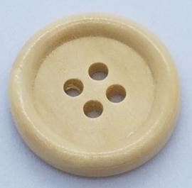 Blank Houten Ronde Knoop met 4 gaatjes 20mm