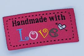 Roze Stoffen Handmade with Love 5x2,5cm (5 stuks)