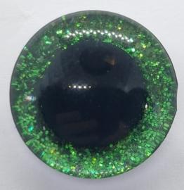 Groene Sparkle Glitter Veiligheids Oogjes Ogen 16mm II