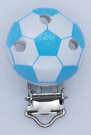 Houten Speenclip Voetbal Licht Blauw