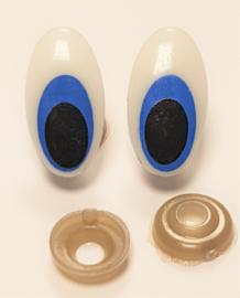 Veiligheids Ogen Ovaal Blauw 14x25mm per paar