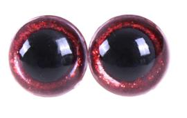 Rode Sparkle Glitter Veiligheids Oogjes Ogen 18mm