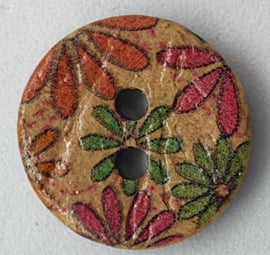 Kokosnoot Knopen met Bloemen 15mm