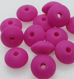 Lentil Kralen 12mm - Donker Roze