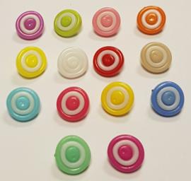 Gekleurde Ronde Knopen met witte cirkel 15mm
