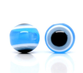 Boze oog kralen 8mm Licht Blauw