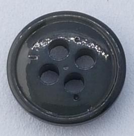 Donker Grijze Knoop met 4 gaatjes 11mm