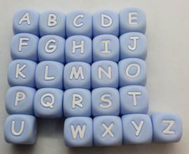 Siliconen Letterkralen Blauw 12mm