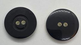 Zwarte knoop met witte Rand 20, 22 & 25mm