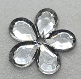 Zilverkleurige Bloemen Pailletten 10mm