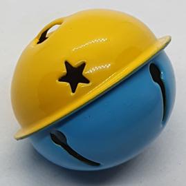 Gekleurde Bellen met Sterren Geel Blauw 40mm